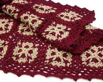 Crochet Lap Blanket - Small Throw - Black Cherry - Taupe