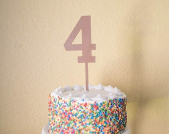 Number four Birthday Cake Topper -  wood number 4