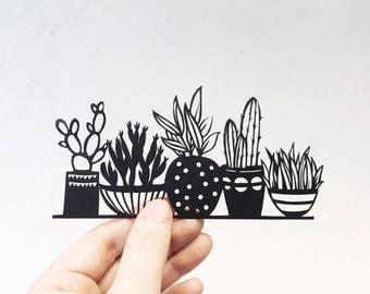 Handmade papercut | Cacti | papercut | silhouette | mini plants | succulents | home decor | botanical | ladder |cacti | papercut art
