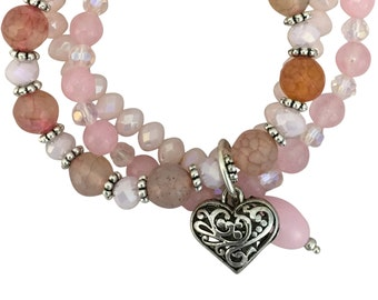 Rose Quartz Stone Silver Heart Charm Bracelet 7.5 Inch SPBR006
