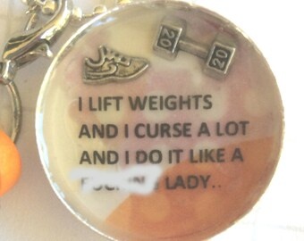 fitness necklace, gym planner accessories, fitness gift, CF, bootcamp keychain, personal trainer gift idea, fit mum birthday gift, fit mom
