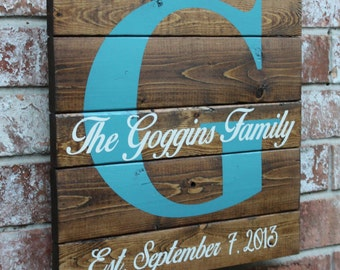 Family Name Sign, Custom Family Name Sign, 14 X14, Name Sign for the Couple, Anniversary Gift, Gift For Them