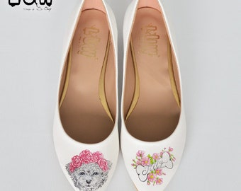 BESTIE - dog shoes, puppies, custom design, hand painted flat shoe, custom design flat, handpainted flat shoe, floral dogs
