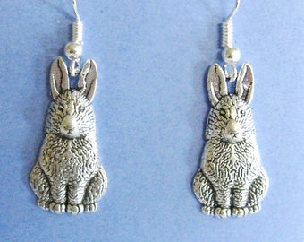 Bunny Earrings, Pewter Bunny Earrings,Easter Earrings, Rabbit Earrings, Easter Bunny Earrings,Gardening Earrings, Rabbits, Easter Jewelry