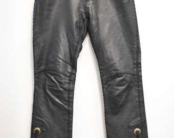 Vintage RALPH LAUREN leather pants , women's fashion biker pants ..............(075)