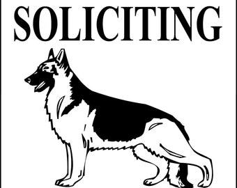 "NO SOLICITING German Shepherd Dog Sign 9""x12"" ""ALUMINUM"""