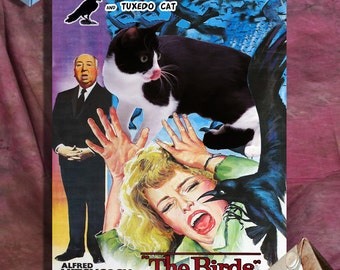 Tuxedo Cat Fine Art Canvas Print - The Birds Movie Poster NEW COLLECTION