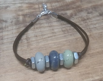 Memorial Bead Bracelet - Custom Keepsake Stoneware Pottery Pet Cremains Jewelry - CORDED TRIPLE PONY Beaded Bracelet