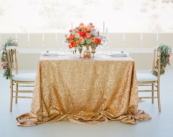 Captivating Gold Sequin Tablecloth, Wedding Tablecloth, Rectangle Tablecloth, Sparkle  Tablecloth, Glitter Table Cover
