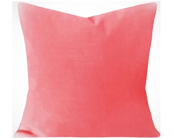 Pink Coral Velvet Pillow Cover - Decorative Pillow - Both Sides - 12x16, 12x20, 14x18, 14x24, 16x16, 18x18, 20x20, 22x22, 24x24, 26x26