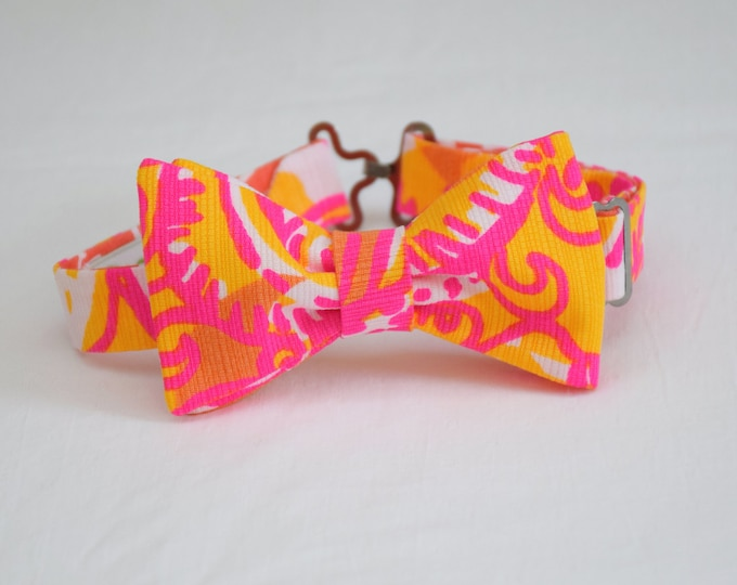 Boy's Lilly Bow Tie, neon pink/yellow Sea and be Seen, father/son matching ties, wedding accessory, toddler bow tie, ring bearer bow tie,