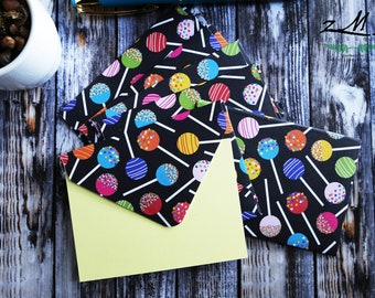 Lollipop envelope & yellow Mini Cards / Thank you Cards / Note Cards / 2.5x3.5 mini card / Set of 6 / Blank Card / Birthday Gift Card