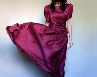 70s Raspberry Party Dress Long Short Sleeve Floor Length Maxi Dress Gown Drape Dress - Medium M