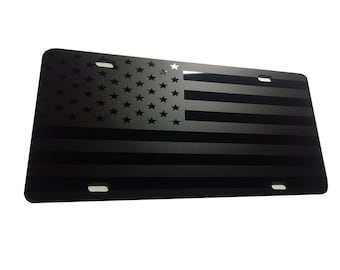 CustoMonsterDesigns US Flag American Flag License Plate Max Level Stealth Subdued Tactical S14