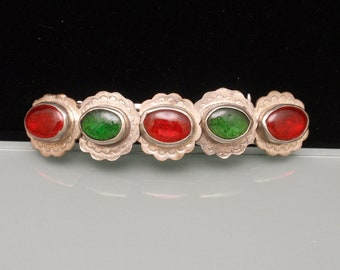 Southwestern Influence Hair Barrette Clip Red & Green Stones