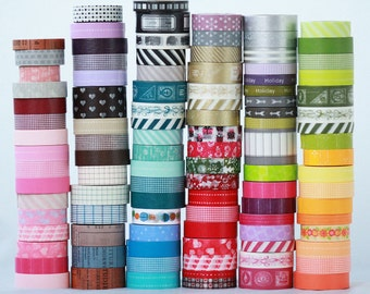 20 wooden spools Japanese Washi Tape Choose the Colors or Grab Bag   ||Stripes / Dots / Chevron / Grid / Floral / Vintage Assorted Washi Set