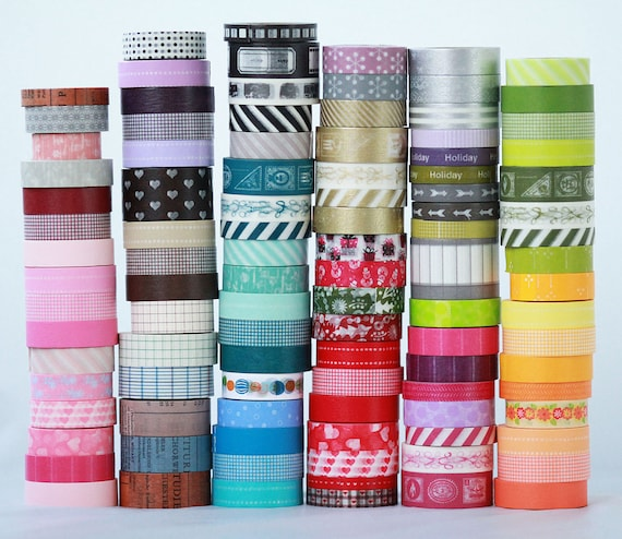 20 wooden spools Japanese Washi Tape Choose the Colors or Grab Bag   ||Stripes / Dots / Chevron / Grid / Floral / Vintage Assorted Washi Set