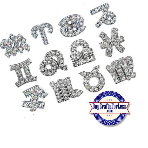 ZODIAC Rhinestone Silver 8mm Slide LETTERS for bracelets, chokers, collars, key rings, slider jewelry +FREE Shipping & Discounts*