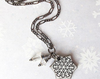 SALE! Ceramic Snowflake Necklace. Pendant. Snow White. Black Porcelain. Clear Glass Beads. Clay. Gunmetal Chain. Winter Jewelry. Ski. Skate