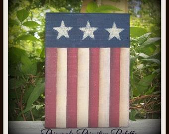 Americana Wood Shelf Sitter Flag Block Summer Home Decor