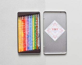 12 crayons pleins, marbré de crayons de couleur, crayons de couleur woodfree magic Koh-i-noor crayons 12 Pack BS001