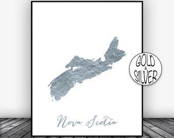 Nova Scotia Print, Office Art Print, Gold Decor Nova Scotia Map Print, Map Art, Office Decor, Country Map, GoldArtPrint