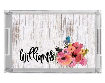 Watercolor Flower-Wood Serving Tray Personalized Monogrammed Acrylic Tray Wedding Gift, Bridal Shower Gift Monogrammed Lucite Serving Tray