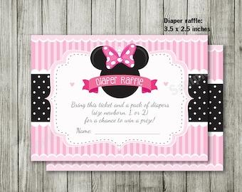 Handmade Minnie Mouse Pink Gold Glitter Invitations Minnie