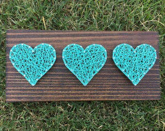MADE TO ORDER Heart Trio String Art Board