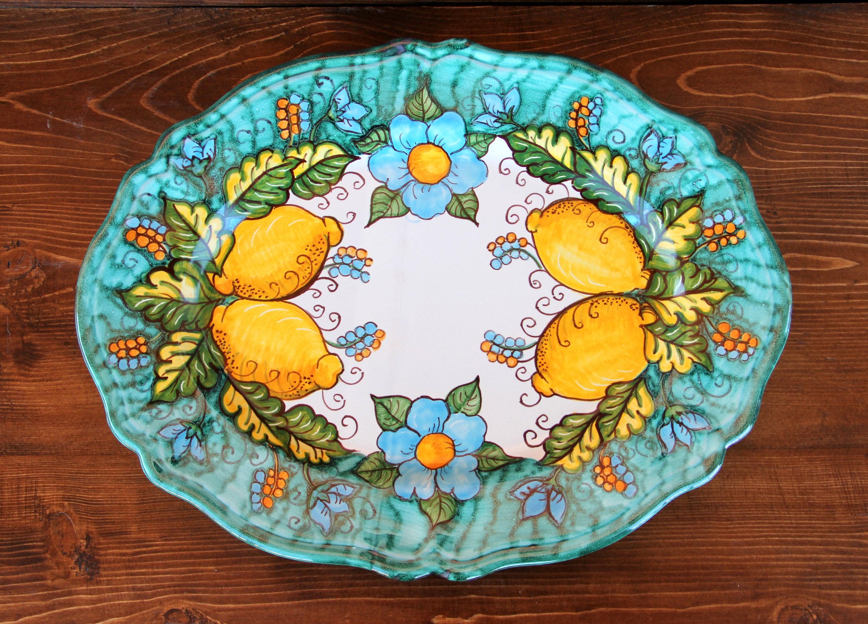 Ceramic plate with lemons. Oval serving plate in Italian artistic majolica. Decorative plates lemons Amalfi Coast Italy. Gifts italian & Ceramic plate with lemons. Oval serving plate in Italian artistic ...