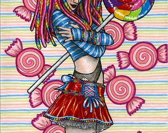 Candy Rave Girl - Original Ink and Marker Neon Raver Character Illustration OOAK by Amanda Lanford