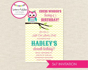 Night Owl Birthday, Night Owl Birthday Invitation, Night Owl Printables, Night Owl Birthday Decorations, Lauren Haddox Designs