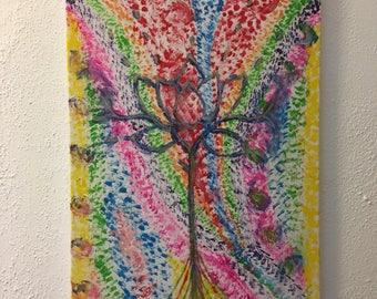 Original Acrylic On Canvas Lotus Flower Rainbow Wall Art