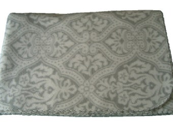 Gray and White Damask Print Massage Table Blanket