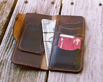 Trucker Wallet - Long Wallet - Leather Wallet - Men's Gift - Personalized Wallet - Motorcycle Wallet - Horween Wallet - Fathers Day gift