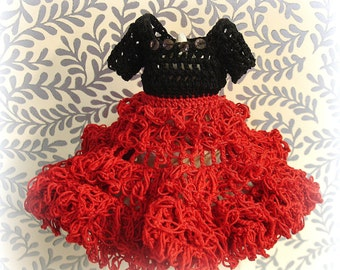 vintage crochet cha cha doll dress . two tone red and black crocheted doll dress + panties crocheted by hand circa 1940