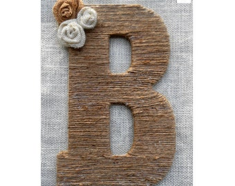 Rustic country decor Family monogram wreath Twine wrapped letter Burlap home decor