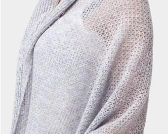 Lightweight Wool Shawl, oversized scarf, wedding shawl pashmina, grey wool scarf shawl, gift for women, gift for her