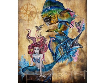 """A Mermaid's Tale"" -Fine Art Giclee Prints."