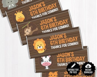 Safari Chocolate Bar Wrappers. Baby Shower Chocolate Bar Wraps. Printable Party favors. Editable Labels. Jungle Theme Large Candy Bar Labels