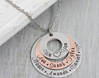 Personalized Mom Jewelry - Grandmother Necklace Gift - Personalized Jewelry - Family Name Necklace - Mothers Day Gift for Her