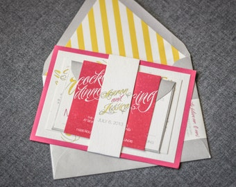 "Pink and Yellow Wedding Invitations, Stripes Modern Invitation Set, Bat Mitzvah Calligraphy Invitations - ""Sweeping Script"" FP-1L-v3 SAMPLE"