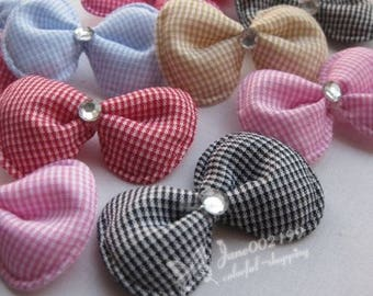 Large gingham and polyester (x 6) rhinestone bow applique