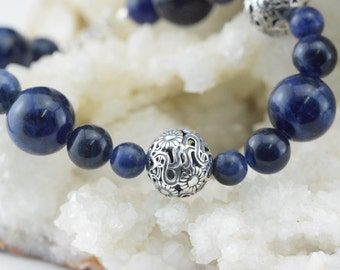 Pearls bracelet Sodalite and silver beads