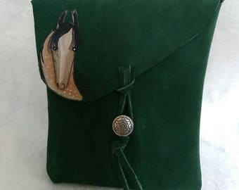 Pretty horse Handpainted on leather purse