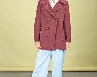 50s Burgundy Coat Red Vintage Button Wool Jacket