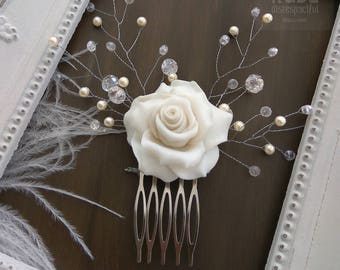 Bridal Ivory Rose Comb, Ivory White Flower Fascinator, Bridal Fascinator, Bridal Accessories, Wedding Hair Accessories, Hair Flower, sf4