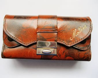 Vintage Leather Wallet with Many Compartments