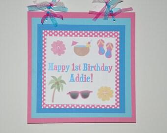 Beach Door Sign. Door Sign. Birthday Sign. Welcome Sign. Tropical. Pink. Blue.