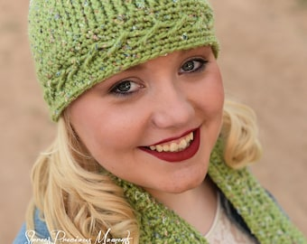 Crochet Pattern Limelight Beanie and Scarf - PDF - Instant Digital Download (Child and Adult)